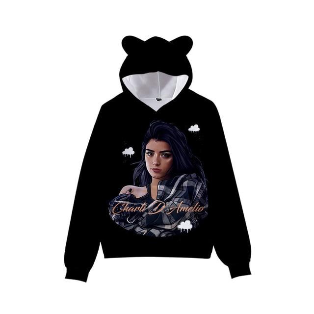 3D Print Charli D'Amelio Hoodies Boys/Girls Cat ears Hip hop Kpop Sweatshirts Hooded Autumn Winter Charli Damelio Merch Tops 4