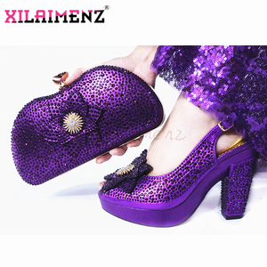 Image 4 - 2020 New Style African Women Matching Shoe and Bag Material with Pu Italian Lady Shoes and Bags Set for Party in Wine Color