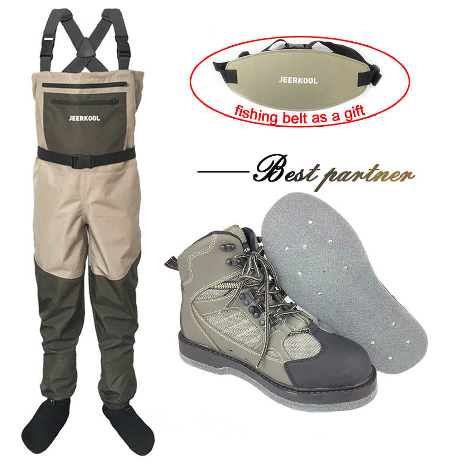Fly Fishing Clothes and Shoes Aqua Sneakers Wading Clothing Set Breathable Rock 12 Nails Felt Sole Boots Wader Pants FXMD1