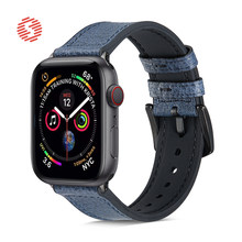 ShengOne Fashionable Litchi Pattern Genuine Leather Combined with Soft Silicone Band for Apple Watch Series 3 4 5 6 SE 40MM 44MM