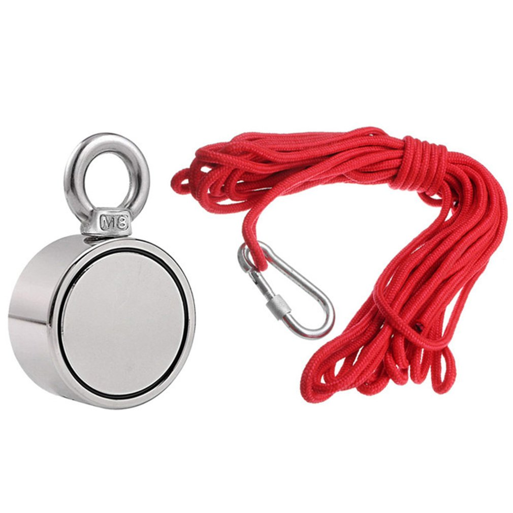 200/300/500KG Portable Durable Powerful Strong Double-Sided Fishing Magnet With 10 Meter Rope Strong Magnetic Ring Magnet Stone