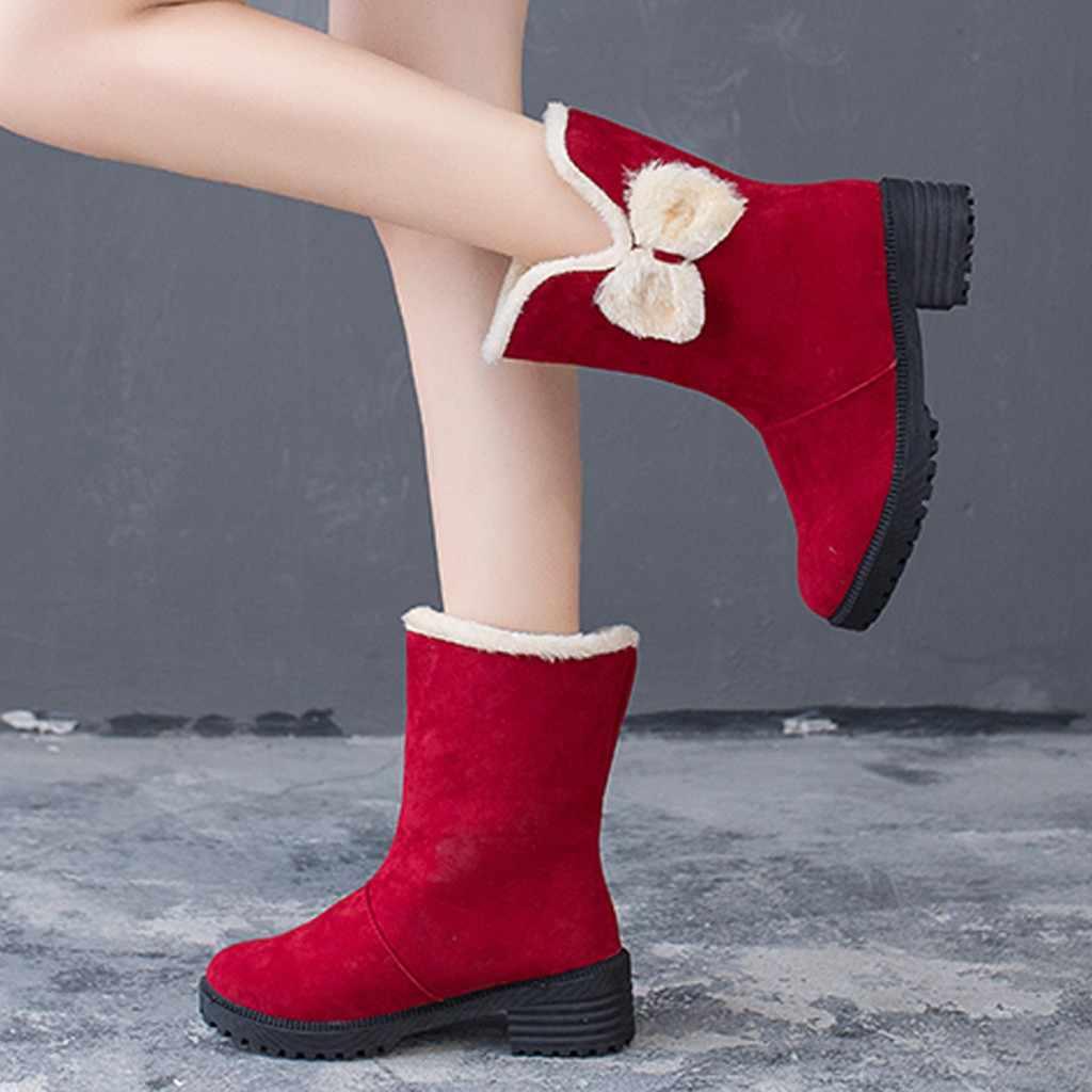Moda Mulheres Camurça Botas de Neve Palmilha de Pelúcia Praça Heel Slip-On Shoes Keep warm fur Bota Rodada Toe Mais Quente tênis para caminhada Botas de Neve