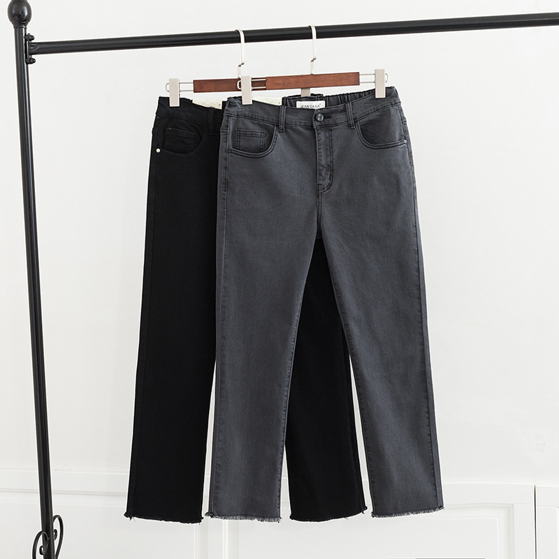 Spring's New Plus-size Women's Jeans Add Bulk And Extra Bulk To The Solid Color Of The Frilled Jeans Ripped Jeans For Women