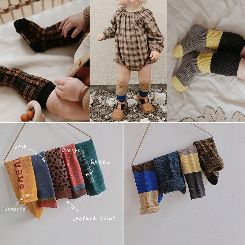 EnkeliBB Very Stylish 0-6Y Boys Girls Cotton Fashion Tube Socks Leopard Letter Print Free Size Toddler Korean Plaid Long Socks