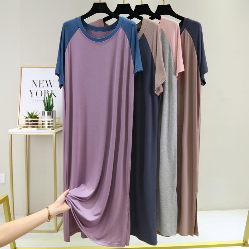 Spring 2021 female modal dress summer round neck loose large size nightdress thin skirt short sleeve long skirt