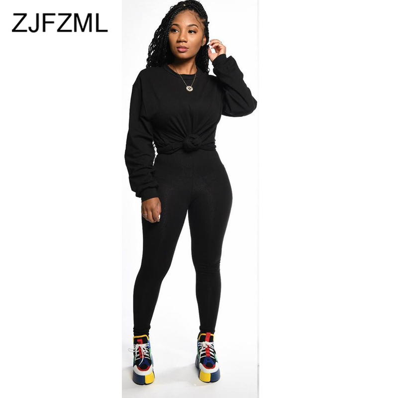 Solid Sexy Two Piece Set Women Outfits O Neck Lantern Sleeve Loose Harajuku T-Shirt + Causal Long Pants Plus Size Track Suit