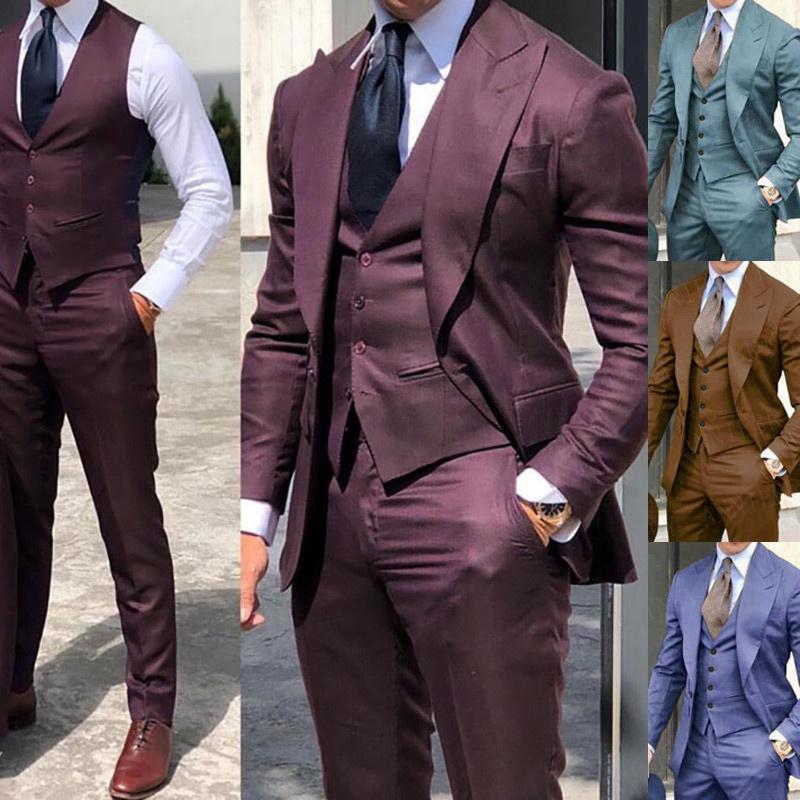 2021 Brown Classic Men Suit 3 Pieces Tuxedo Peak Lapel Groomsmen Wedding Suits Set Fashion Men Business Blazer Jacket+Pants+Vest