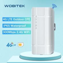 WOBITEK 4G LTE Outdoor Waterproof WiFi Router 300Mbps 2.4G Wireless CPE CAT4 Unlocked Sim Card Slot Hotspot for IP Camera B7 B28