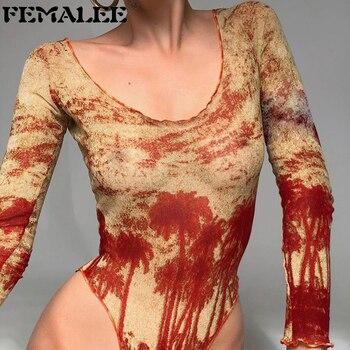 FEMALEE Casual Tie-dyes Printed Jumpsuits Ladies Low-cut Long Sleeves Slim Bodysuits Women 2021 Spring New Sexy Wild Palysuits 1