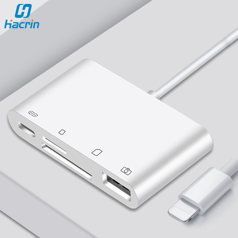 SD Card Reader For IPhone USB OTG Camera Adapter To Lightning 4 In 1 For Ipad IOS IPhone SD TF Card Reader For U-Disk Keyboard