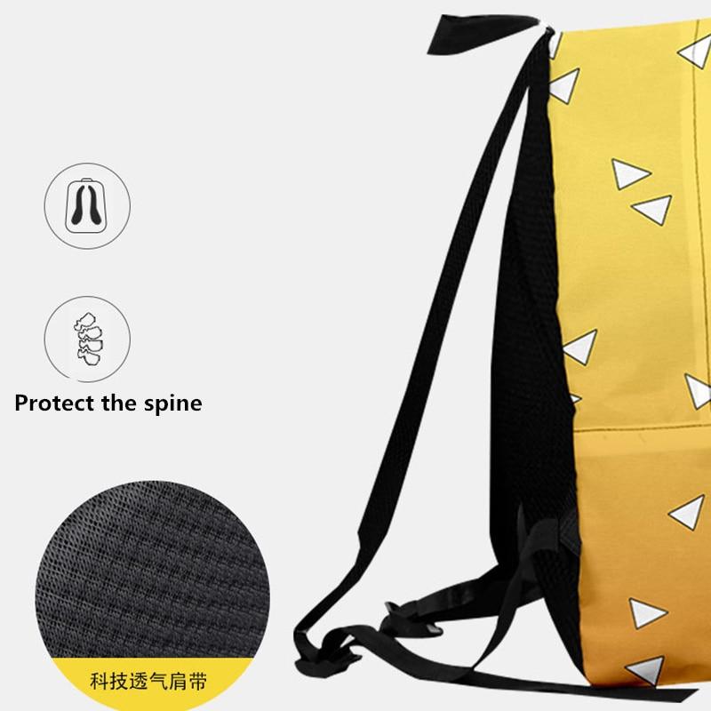 H27ddc3a26666477a828068c3d8cc3675G - Demon Slayer: Kimetsu no Yaiba Backpack Canvas Bag Kamado Tanjirou School Bags Girl Mochila Feminina Nezuko Notebook Bag Cosplay