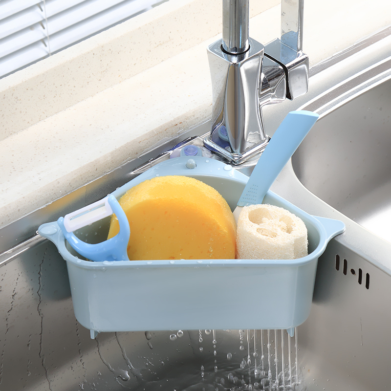 Sink Filter kitchen triangular sink filter Strainer Drain Vegetable Fruite Drainer Basket Suction Cup Sponge Holder Storage Rack