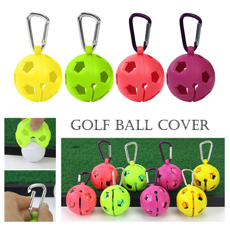 Golf Ball Protective Holder Cover Portable Golf Silicone Case Cover Golf Training Sports Accessories Tools 4 Colors