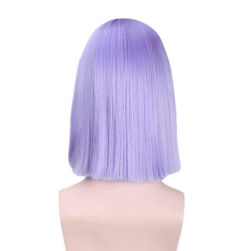 VICWIG Cosplay Perücken Licht Lila Frauen Kurze Bob Synthetische Perücke Hohe Temperatur Faser Gerade Haar mit pony und Rose Net