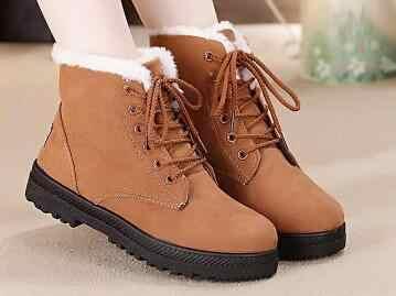 Snow BOOTS 2020 WARM Plush ขนสัตว์พื้นรองเท้าผู้หญิงฤดูหนาวรองเท้าบูทส้นสูง FLOCK รองเท้าข้อเท้ารองเท้าผู้หญิงฤดูหนาวรองเท้าลูกไม้ -ผู้หญิง