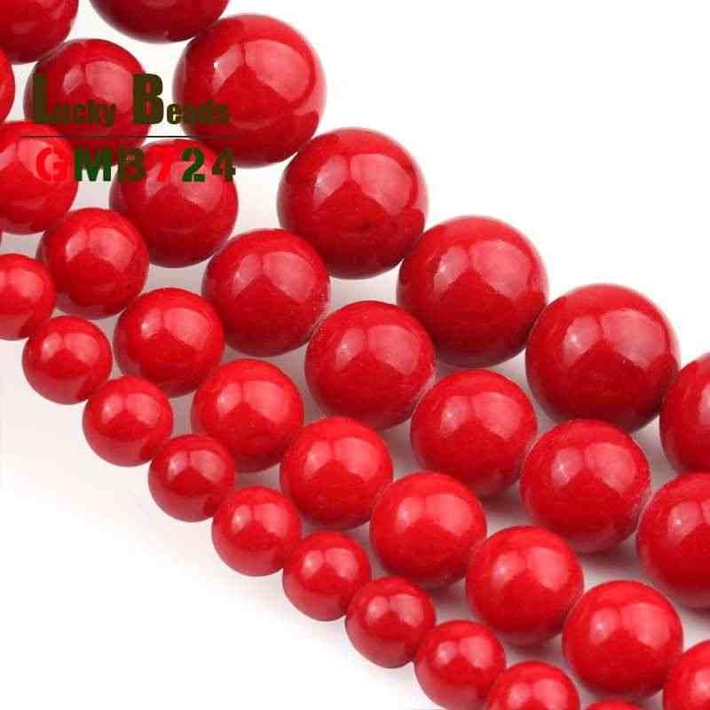 Naturale Del Corallo Rosso Giade Perline Rotondi Branelli Allentati di Pietra Per Monili Che Fanno FAI DA TE Dell'orecchio Delle Viti Prigioniere Del Braccialetto Accessori 15 ''4 /6/8/10/12mm