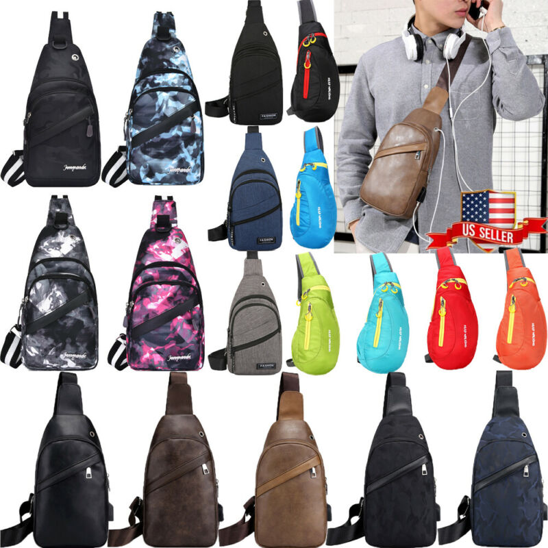 Men Canva Bag Pack Travel Hiking Cross Body Messenger Shoulder Sling Chest Pouch