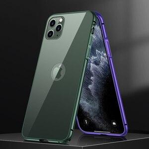 Image 2 - Téléphone étui pour iphone 11 Pro luxe dur mince dos verre trempé et aluminium métal étui housse pare chocs pour Apple iPhone 11 Pro Max