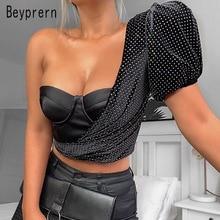 Beyprern Vintage Polka Dot Print Crop Top Womens One Shoulde
