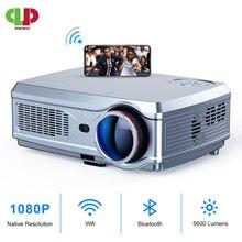 جهاز عرض قوي فائق الدقة 1080P LED proyector جهاز عرض فيديو ثلاثي الأبعاد HDMI لأجهزة الأندرويد الذكية 4K 7.1(2G + 16G) سينما منزلية لاسلكية تعمل بالواي فاي
