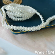 1CM Wide White DIY Hand-stitched Pearl Glitter Beads Braid Lace Ribbon Wedding Dress Skirts Collar Neckline DIY Sewing Appliques