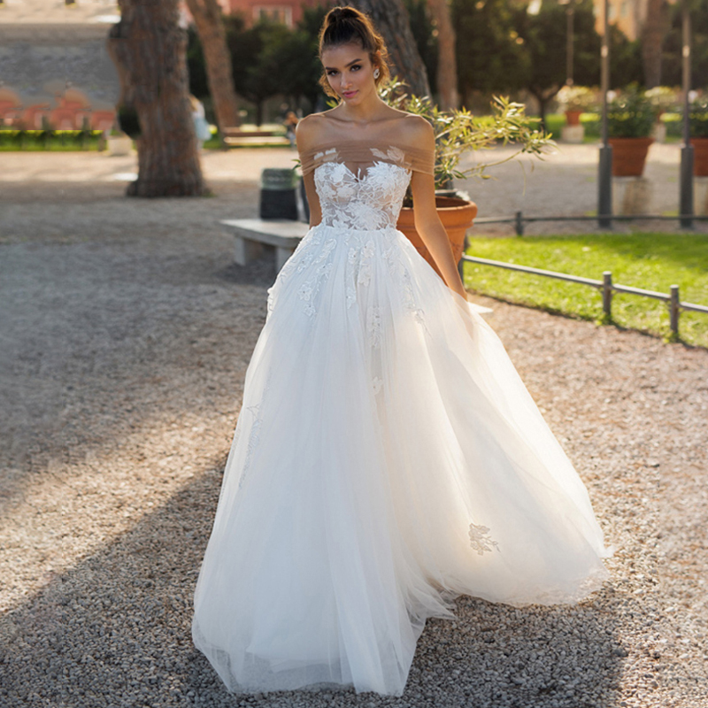 Eightree Off Shoulder A-Line Wedding Dress Boat Neck Appliques Vestido De Noiva Bride Dress Princess Lace Tulle Wedding Dresses