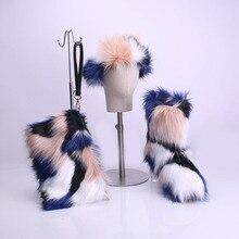 Boots Women 2019 Winter Rainbow Womens Kids Furry Fur Snow Sets with Matching Purse Headband Set