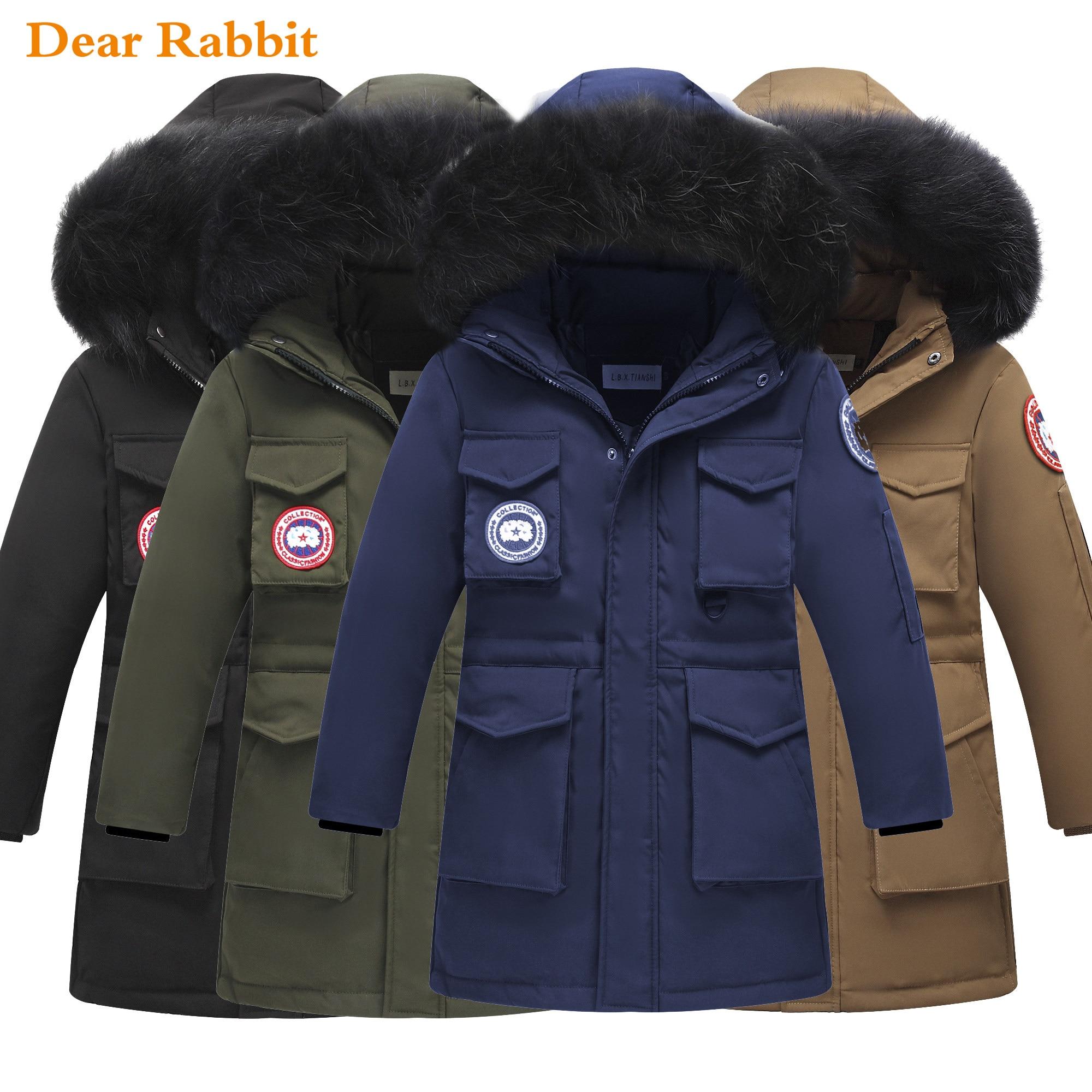 -30 degrés 2019 enfants épais chaud canard vers le bas vestes manteau hiver garçon vêtements enfants parka vraie fourrure longue vêtements d'extérieur à capuche snowsui