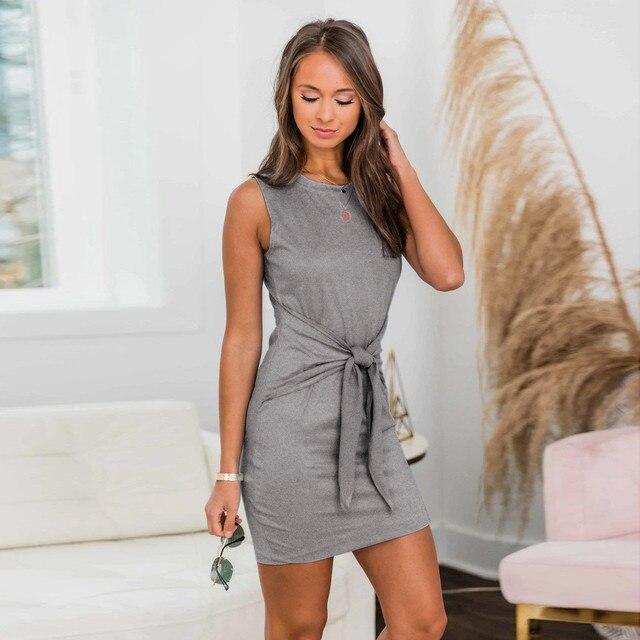 #H30 Fashion Casual Bodycon Dress Women Sleeveless Solid O-Neck Bandage Tank Dress Mini Party Dress Gray Vestido De Festa
