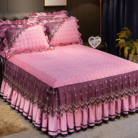 Luxury quilted lace bed cover 1/3pcs crystal velvet princess pink bedspreads warm mattress cover skirted anti skid bed cover