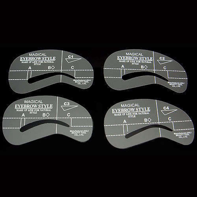 NEW 4Pcs Eyebrow Shaping Stencil Set Grooming Tools Drawing Card for Dashing Eyebrows C1-C4 3
