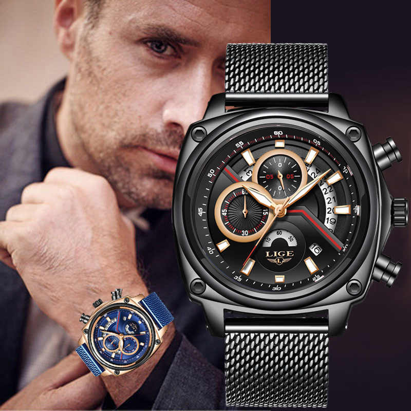 Relogio 2019 LIGE Mens Watches Top Brand Luxury Military Sport Watch Men Waterproof Clock Quartz WristWatch Relogio Masculino