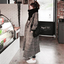 2019 Spring Autumn Womens Wool Plaid Coat New Fashion Long Woolen Female Winter Trench coat Outwear