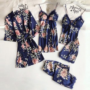 5 pzs Sexy Lace mujeres Pajanas vestido de noche de satén Robe Albornoz pantalones cortos Lencería conjunto pijamas de talla grande ropa de dormir S-3XL