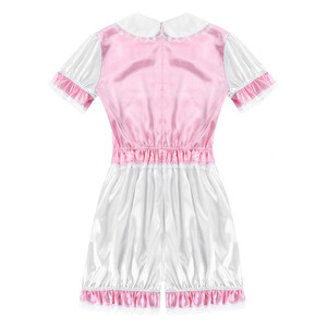 Image 3 - Men Silky Satin Trimmed Lace Romper Sissy Lingerie Doll Collar Short Puff Sleeves Mens Adult Baby Crossdresser Cosplay Costume
