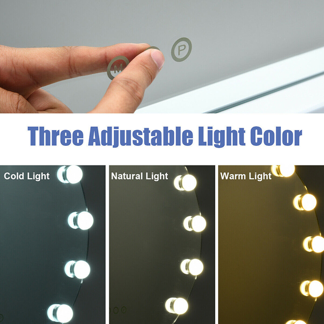 3 Color 12 Bulbs Modes Touch Screen Dimming Hollywood Style Makeup Vanity Mirror Adjustable Brightness Smart Touch Control 4
