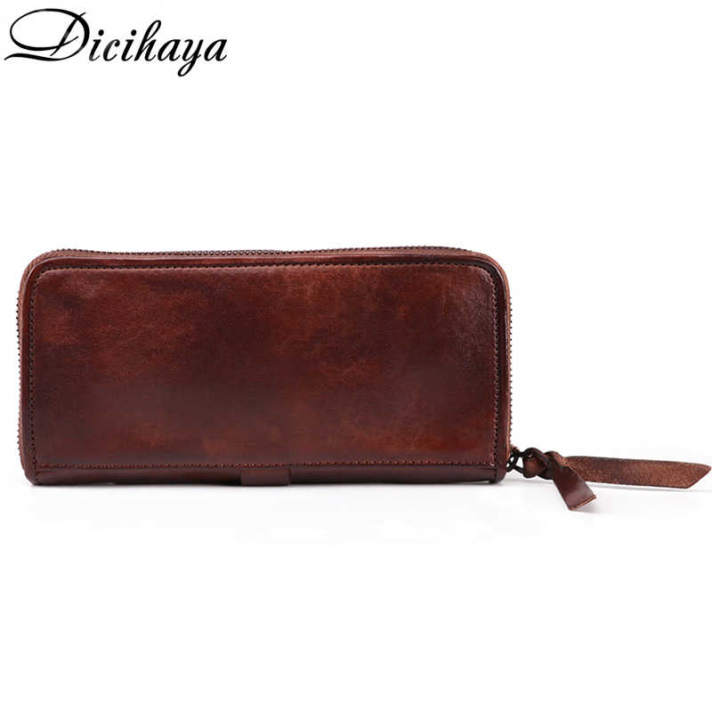 DICIHAYA wysokiej jakości męska RFID długi portfel ze skóry naturalnej sprzęgła człowiek marka luksusowe mężczyzna kiesy portfele portmonetka etui na telefon
