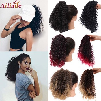 AILIADE Puff Hair Afro Kinky Curly Ponytail Short Drawstring 1 Piece Clip In Extensions Pony Tail Natural Black - discount item  46% OFF Synthetic Hair