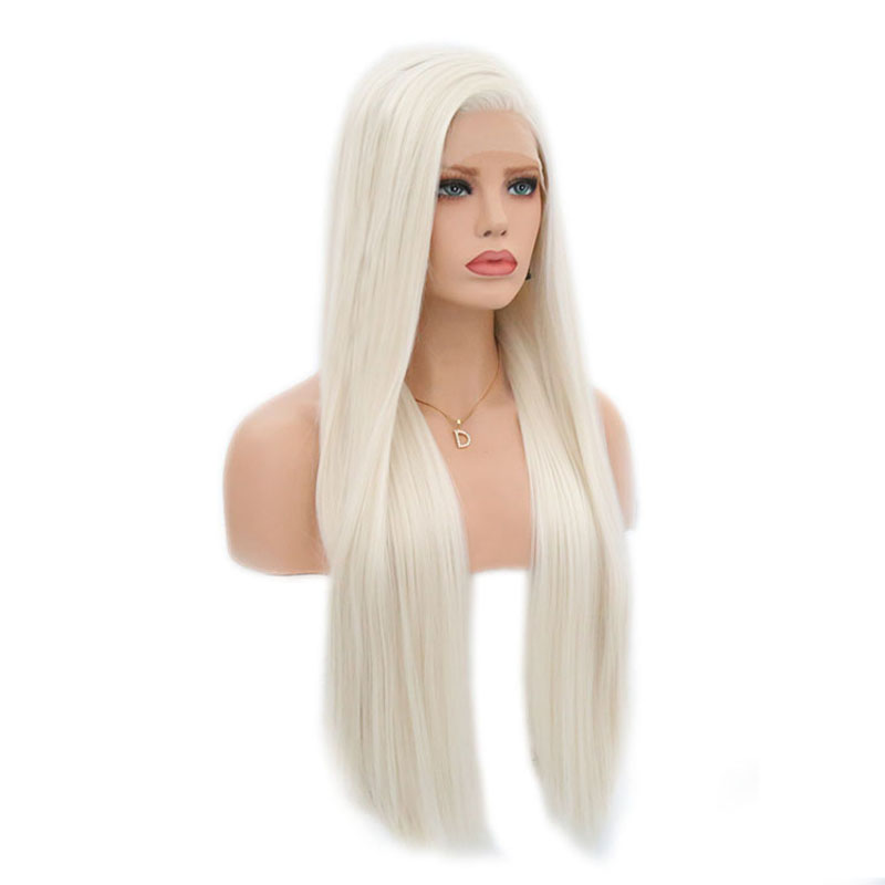 Image 4 - Charisma #60 Platinum Blonde Wig With Baby Hair 26 Inch Synthetic Lace Front Wig Glueless Heat Resistant Wigs For Women 13x3-in Synthetic None-Lace  Wigs from Hair Extensions & Wigs