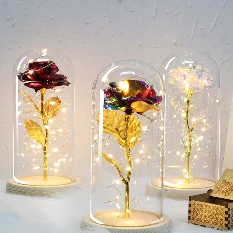 Golden Gold Foil Rose and Led Light with Golden Beads in Glass Dome on Wooden Base for Home Decor Holiday Party Wedding Anniversary Beauty and The Beast Rose Kit