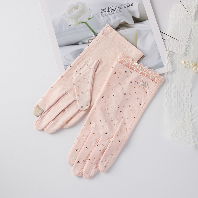 Women Driving Gloves Fashion Summer Autumn Breathable Stretch Gloves Sunscreen Anti Uv Slip Resistant Touch Screen Glove Pink