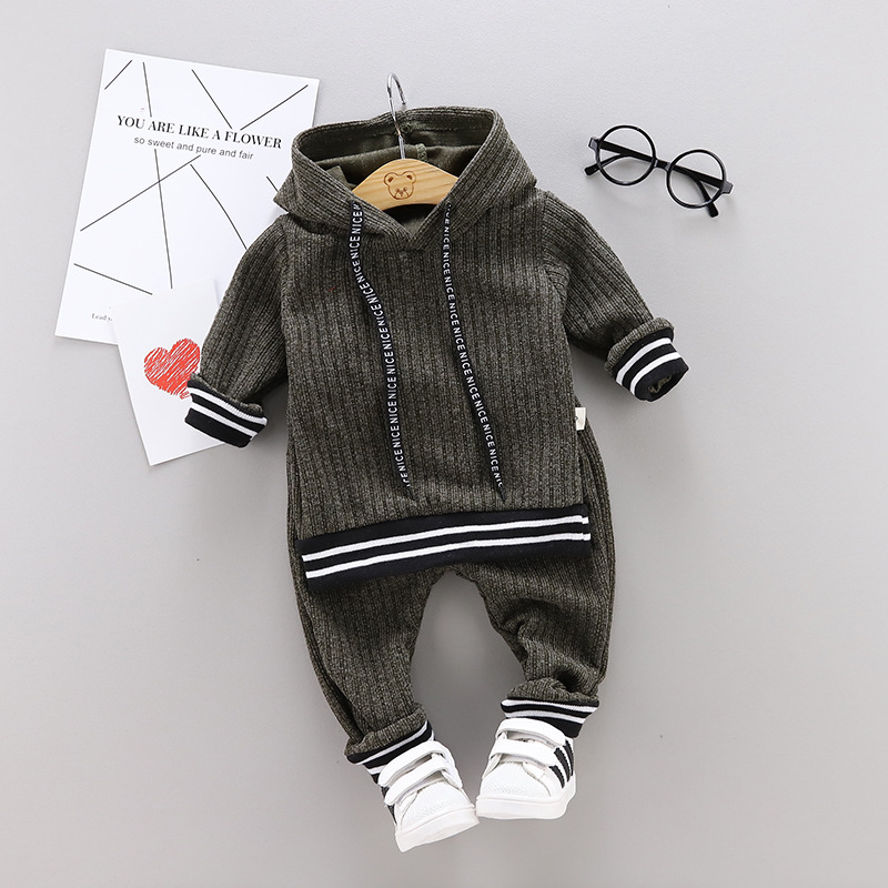 Toddler Clothing Infant Baby Boys Solid Long Sleeve Hoodie Tops Sweatsuit Pants Kids Outfit Set (1-4 Years)