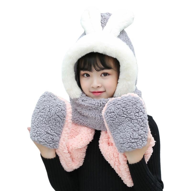 Kids 3 In 1 Scarf Hat Gloves Stitching Color Adorable Rabbit Ear Hoodie Earflap 2020