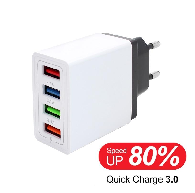 Универсальный адаптер питания переменного и постоянного тока, 5 В, 3 А, источник питания с 4 USB-портами, быстрое зарядное устройство, USB 5 В пере...