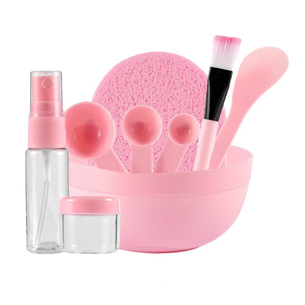 9Pcs Plastic DIY Mask Bowl Brush Spoon Stick Soaking Spray Bottle Face Puff Set