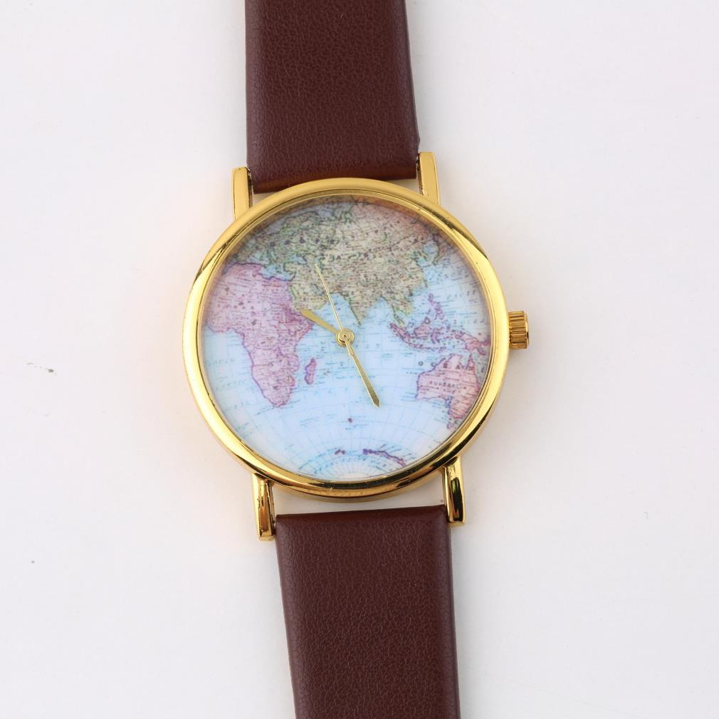 OUTAD Fashion Women Female Girl Watch Synthetic Leather Alloy World Map Globe Analog Quartz Retro Wrist Watches 4 Styles Relogio