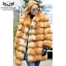 Модное роскошное пальто из красного лисьего меха с воротником