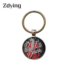 Zdying  Panic at the Disco Keychain Handmade Round Glass Music band Photo Cabochon Dome Keyrings Key Ring Pendant TW001