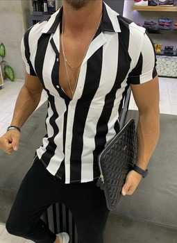 Shirts New Men Fashion Mens Printed Splicing Colorful Stripe Short Sleeve Loose Shirt Casual Sport Male Shirt Blouse Top short sleeve social shirt male new summer blouse men white navy fashion casual shirt for men oxford colorblock