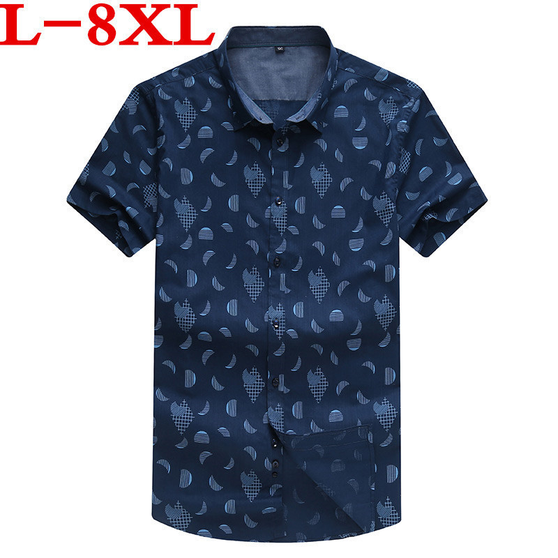 9XL8XL Plus Size Men Hawaiian Short Sleeve Shirt Male Luxury Cotton Aloha Flower Floral Printed Casual Shirt Clothes  Summer